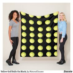 Yellow Golf Balls On Black, Fleece Blanket