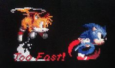 Sonic & Tails, Too Fast - PDF Cross Stitch Pattern. $4.99, via Etsy.
