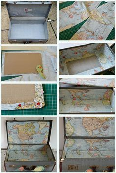 How to line a vintage suitcase with map fabric.  You should check the map decoupage on the outside of the suitcase too.  Awesome upcycle!