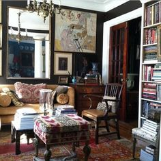 Dark walls, navy bedroom, luxe layers, sophisticated interiors, handsome interiors, mom bedroom, navy library study, old world interiors, navy living room, world of interiors, luxe layers, @acroterion library. From Kinsey Marable on IG.