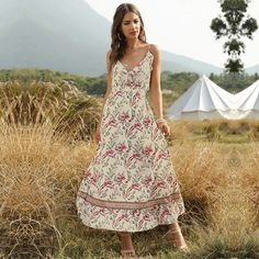 Women Bohemian Dress Floral Print Deep V Neck Spaghetti Strap Sleevele – Ozzy Bella All Great Apparel
