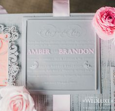 grey and pink wedding invitation by PaperDamsels.com via WedLuxe Magazine
