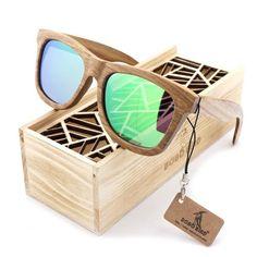Migraphs - Men's Bamboo Wood Polarized Rectangle Sunglass