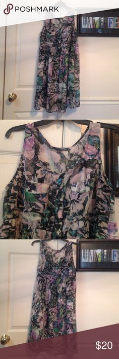 Last Chance! Ladakh Watercolor Print Sheer Dress Gorgeous watercolor print. Baby doll style 100% polyester dress. Lightweight and semi-sheer. Looks great layered over cami slip or worn with leggings. Breezy Free People kind of vibe. Worn 1x for engagement photos. Ladakh Dresses Mini