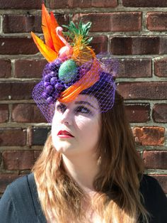 Carmen Miranda Turban Inspires Cocktail Hat Headpiece.  FruitHat, Pillbox, Cocktail Hat, Headpiece, With Glittered Fruit, And Veil. by ChefBizzaro on Etsy