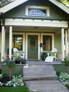 1920s craftsman bungalow porch Bungalow Exterior, House Paint Exterior, Craftsman Bungalows, Exterior House Colors, Bungalow Porch, Craftsman Exterior Colors, Exterior Trim, Cottage Porch, Cottage Style