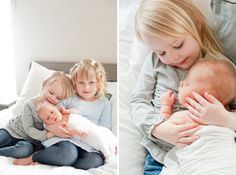 Newborn photography at home with the siblings is so darling! Photography by Brittany Cascio