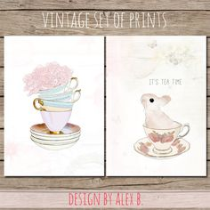 It's Tea Time  Set of 2 vintage prints/cards by DesignbyAlexB, €4.00