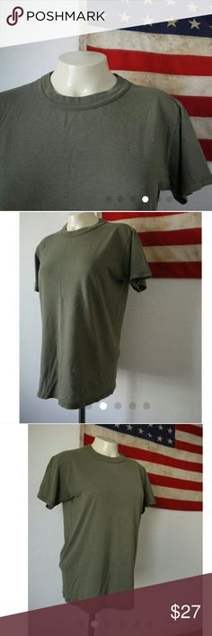 """Vintage 70s army military tee Vintage 1970s or early 1980s Army Military Green Tee Shirt  Excellent Vintage Condition - perfectly worn in....PAPER THIN, Super Soft, No Holes, no stains. 50/50  Original Tag Intact (to faded to read size)  measurements (laying flat backside facing up):  - arm pit to arm pit: 19.5""""  - top to bottom: 24.5"""" Other"""