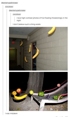 High Contrast Photos of Fruit Floating Threateningly In the Night, c. 2014. Artist: cocolooo.