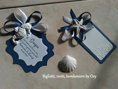 Segnaposto / Blu / mare / conchiglie / Stella marina / cavaluccio marino / Gessetti. Handmade Tags, Sea Theme, Table Plans, Biscuit, Shabby, Holidays And Events, Wedding Planner, Embellishments, Diy And Crafts