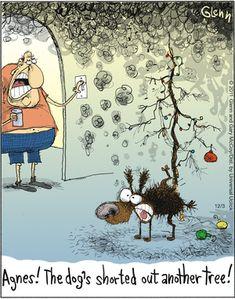 The Flying McCoys by Glenn and Gary McCoy ~ Christmas Humor ~ Christmas Tree & the Family Dog