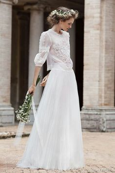 Lovely Two Piece Wedding Dress....3/4 Length Blouson Sleeves On A Sheer Gorgeous Heavily Embroidered & Embellished Blouse, A-Line Pleated Chiffon Skirt; by Alberta Ferretti 2016
