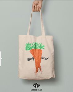 Eco friendly tote bag with orange carrot print on it. Cotton Tote Bags, Reusable Tote Bags, Eco Friendly, Etsy Shop, Orange, Trending Outfits, Carrot, Unique Jewelry, Handmade Gifts