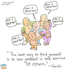 Buddha Doodles - The best way to find yourself is to lose yourself in the service of others - Ghandi