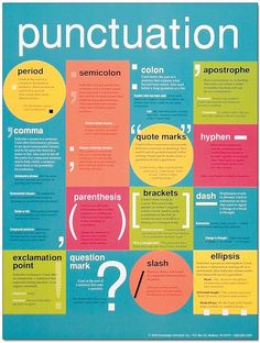 Punctuation is an extremely important part of the English language and is a useful skill that should be carried on after high school. Letting your kids know what the value of punctuation is and how to use it correctly will help them out a lot. Teaching Writing, Writing Skills, Teaching Tools, Teaching English, Learn English, Writing Tips, English Grammar, Essay Writing, Gcse English