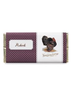 Thanksgiving Chocolate-Bar Place Card But feel free to open your mind to other items! Thanksgiving Favors, Thanksgiving Place Cards, Thanksgiving Greetings, Thanksgiving Traditions, Thanksgiving Recipes, Chocolate Bar Wrappers, Candy Bar Wrappers, Martha Stewart Thanksgiving, Candy Cards