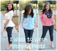 The Heathered Life: 3 Ways to Wear: Striped Pants