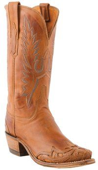#Lucchese Style N4750, Women's Ranch Hand #Boots with Athens Stitch Pattern and Kasandra Wingtip in cognac