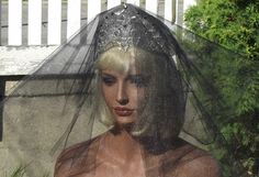The Gothic Bride. BLACK Heart Veil  Black Accent Tiara. Costume.  Death's Bride Enrobed In Splendour.  Black Swan/Raven. $59.56, via Etsy.