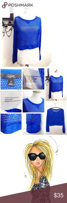 New Royal Cobalt Blue Fishnet Cropped Fashion Top Sporty Urban Chic Cropped Top Type. Edgy Retro 80's & 90's Style! • Long Sleeves Netted Mesh / Sheer Fishnet Royal Blue fabric, with ribbed - knit cuffs & collar, round neckline • Very light &  comfortable. Great for hot days to lounge, beach vacations, over a swimming suit bralette or tank top, casual work days & back to school • New (nwot) • size S, fun bright & vibrant 100% polyester net • smoke & cat free home • God bless & happy poshing…