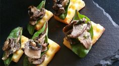 Mini Waffles with sautéed Mushrooms & Spinach