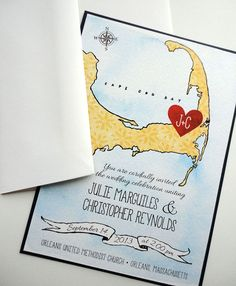 Cape Cod Map Wedding Invitation by NooneyArt Designs