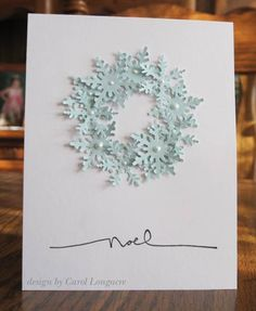 snowflake wreath card...with punches & pearls...soft blues