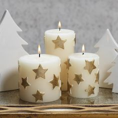 Star Embossed Pillar Candle - Set of Six - Gold