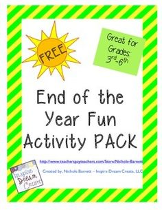 Enjoy this FREE end of the year fun activity pack! Included activities are:  word search, word scramble, I will sheet, then and now, poem sheet, letter to my teacher sheet, end of the year letter, and find someone who sheet.Great for students in grades 3rd-8th.