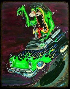 Rat Fink, Ed Roth Art, Cartoon Rat, Cool Car Drawings, Posca Art, Garage Art, Car Colors, Car Posters, Ad Art