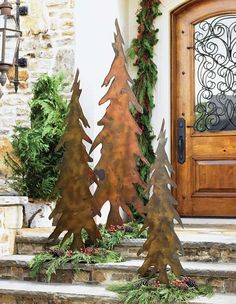 Lodge Decor-Rustic Cabin Decor-Southwestern Home Decor-Log Cabin Decor-Antler Lighting - Pencil Trees this front door! Log Cabin Christmas, Country Christmas, All Things Christmas, Christmas Holidays, Christmas Crafts, Xmas, Western Christmas, Metal Christmas Tree, Christmas Garden