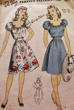 1940s Drawstring Blouse and Skirt DuBarry by BluetreeSewingStudio, $12.00