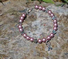 Breast Cancer Flower Bracelet by HHhandmadecreation23 on Etsy, $14.80