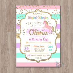Unicorn Birthday Invitation, Unicorn invitation, unicorn invites,  first 1st birthday girl gold glitter rainbows party digital printable by DamabDigital on Etsy https://www.etsy.com/listing/478767994/unicorn-birthday-invitation-unicorn