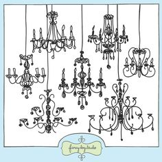 Doodled chandeliers clip art images. Stylish and playful, perfect for invitations, cards and digital scrapbooking