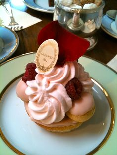 Rose Gateau St. Honore - Unforgettable rose dessert at Laduree in Paris - like a religeuse but as fancy as a wedding cake