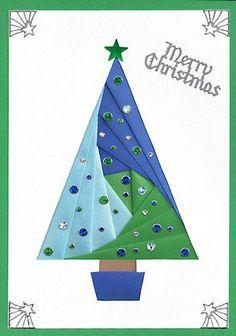 Christmas Tree Iris Fold - works for any Pennant triangle shape. Iris Folding Christmas Collection
