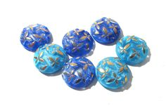 Blue Moonglow Glass Shankless Buttons West Germany VINTAGE Assorted Blues Gold Luster Buttons Seven (7) Jewelry Sewing Supplies (J107) by punksrus on Etsy