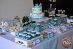 Candy Bar en turquesa, celeste y blanco