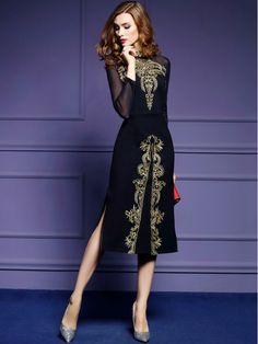 0a762a243be Black Embroidered Side Splits Midi Dress Caftan Court