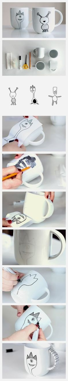 Easy DIY Crafts: Learn how to decorate a coffee mug with a porcelain marker