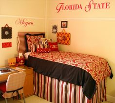 FSU dorm room! Will be using some of these ideas for Kinsey's room
