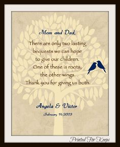 Items Similar To Pas Thank You Print Wedding Date For Mom Dad Makes A Great Gift On