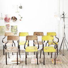chaises gascoin jaune et naturelles