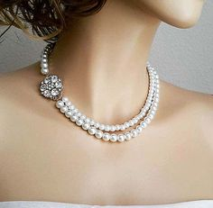 Bridal Necklace Pearl Jewelry, Wedding Necklace Bridal Jewelry, Pearl Rhinestone Necklace, Bride Necklace by sukrankirtisjewelry. Explore more products on http://sukrankirtisjewelry.etsy.com