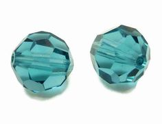Swarovski Crystal 5000 Round Faceted Beads Blue Indicolite 8mm Set 2 | BeadSouk - Jewelry Supplies on ArtFire