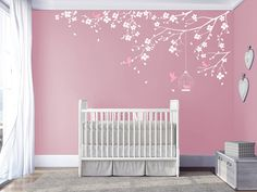 Branch wall Decal Baby Nursery Decals Girls Room Decal Cherry Blossoms Tree Decal Nursery room Floral wall decal living room bedroom sticker A Tree Decal Nursery, Nursery Decals Girl, Bedroom Stickers, Nursery Room, Bedroom Wall Designs, Baby Room Decor, Girl Room, Decoration, Floral Wall