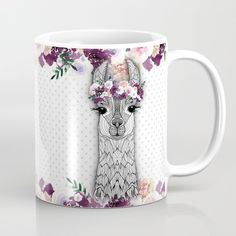 Flower girl alpaca coffee mug / gift for her / floral lama / cute girly mug / female coffee lover white ceramic coffee mug by UnknowndesignsShop on Etsy Cute Coffee Mugs, Cute Mugs, Coffee Cups, Funny Mugs, Alpacas, Llama Decor, Mermaid Mugs, Alpaca Gifts, White Ceramics