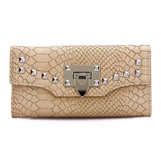 Leather-look Snake Effect Studded Long Purse in Beige